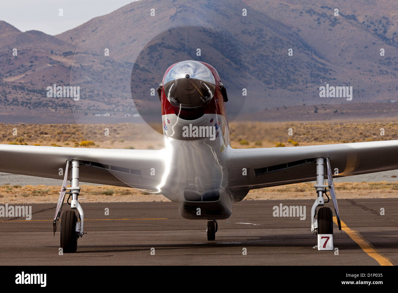 P-51 Mustang Air Racer 'Strega' runs up the RPM's after a heat race at the 2012 Reno National Championship - Stock Image