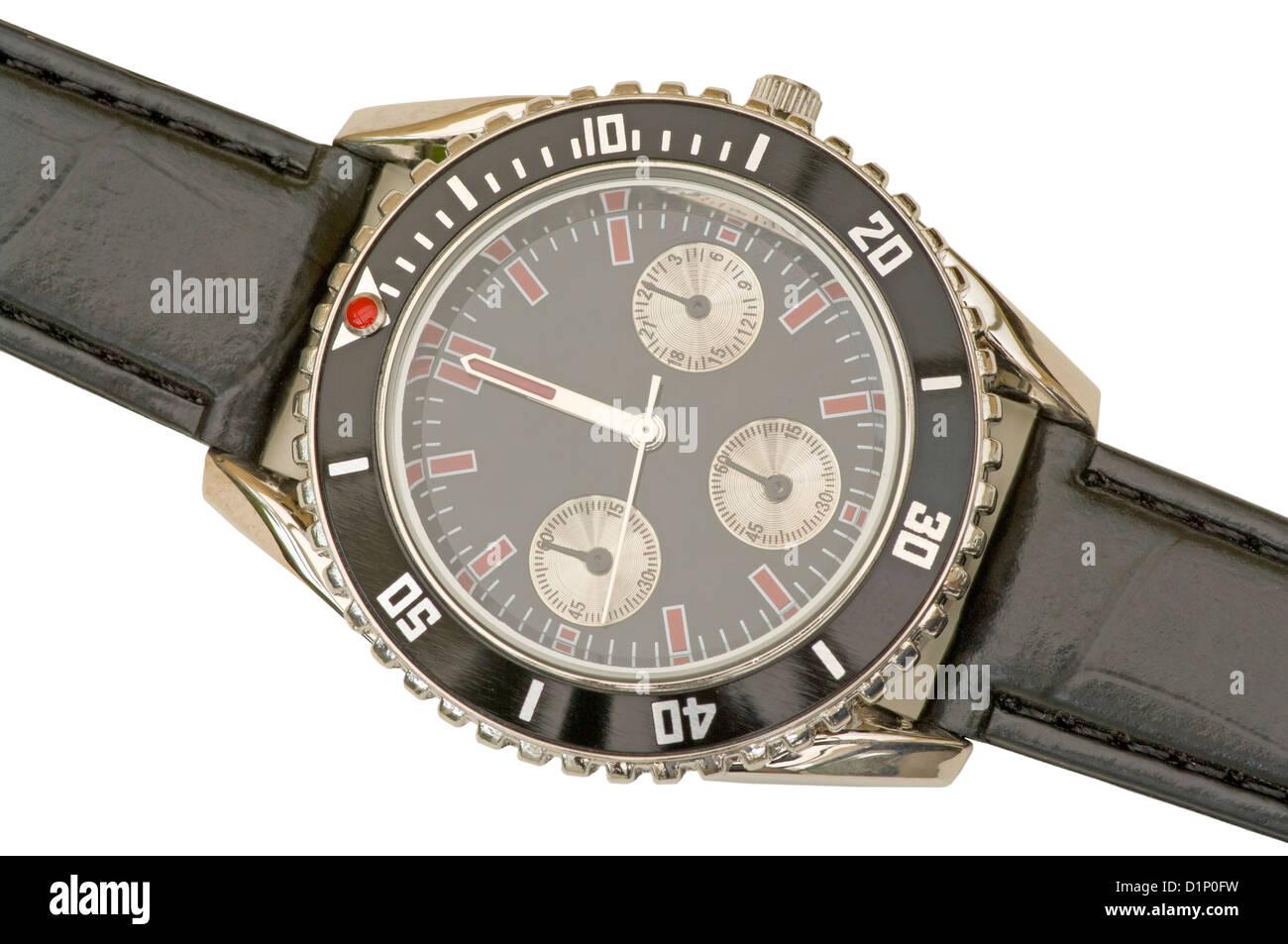 Mans Wristwatch Showing 12 O'Clock - Stock Image