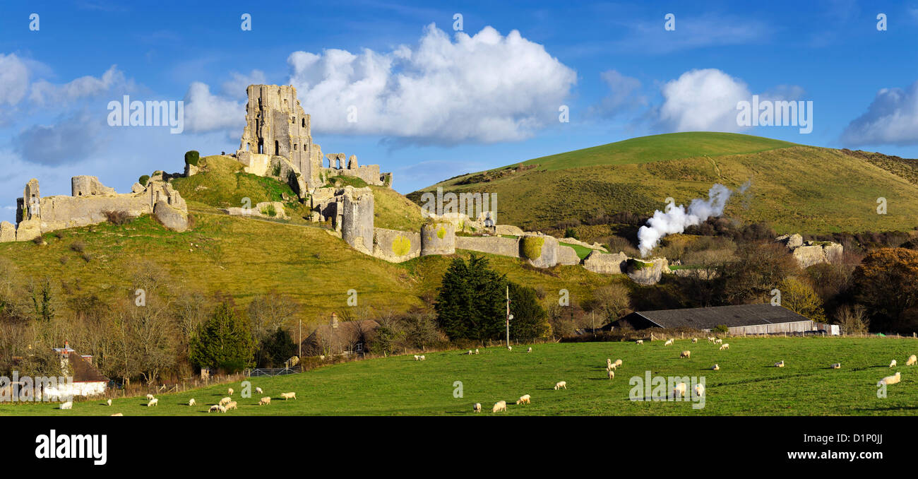 The ancient ruins of Corfe Castle near Swanage on the Isle of Purbeck in Dorset. - Stock Image