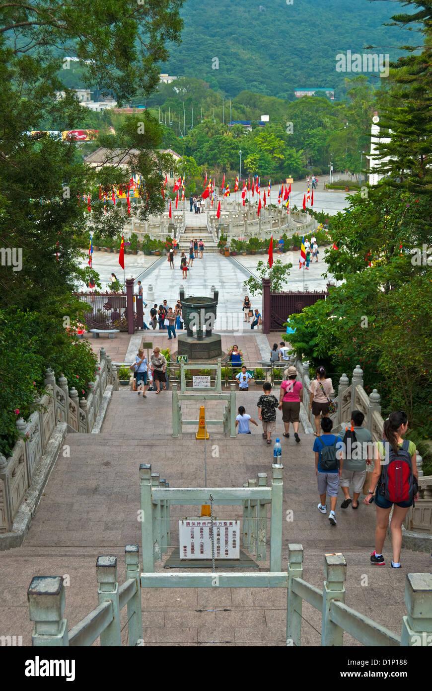 Tian Tan Buddha steps, Lantau Island, Hong Kong - Stock Image