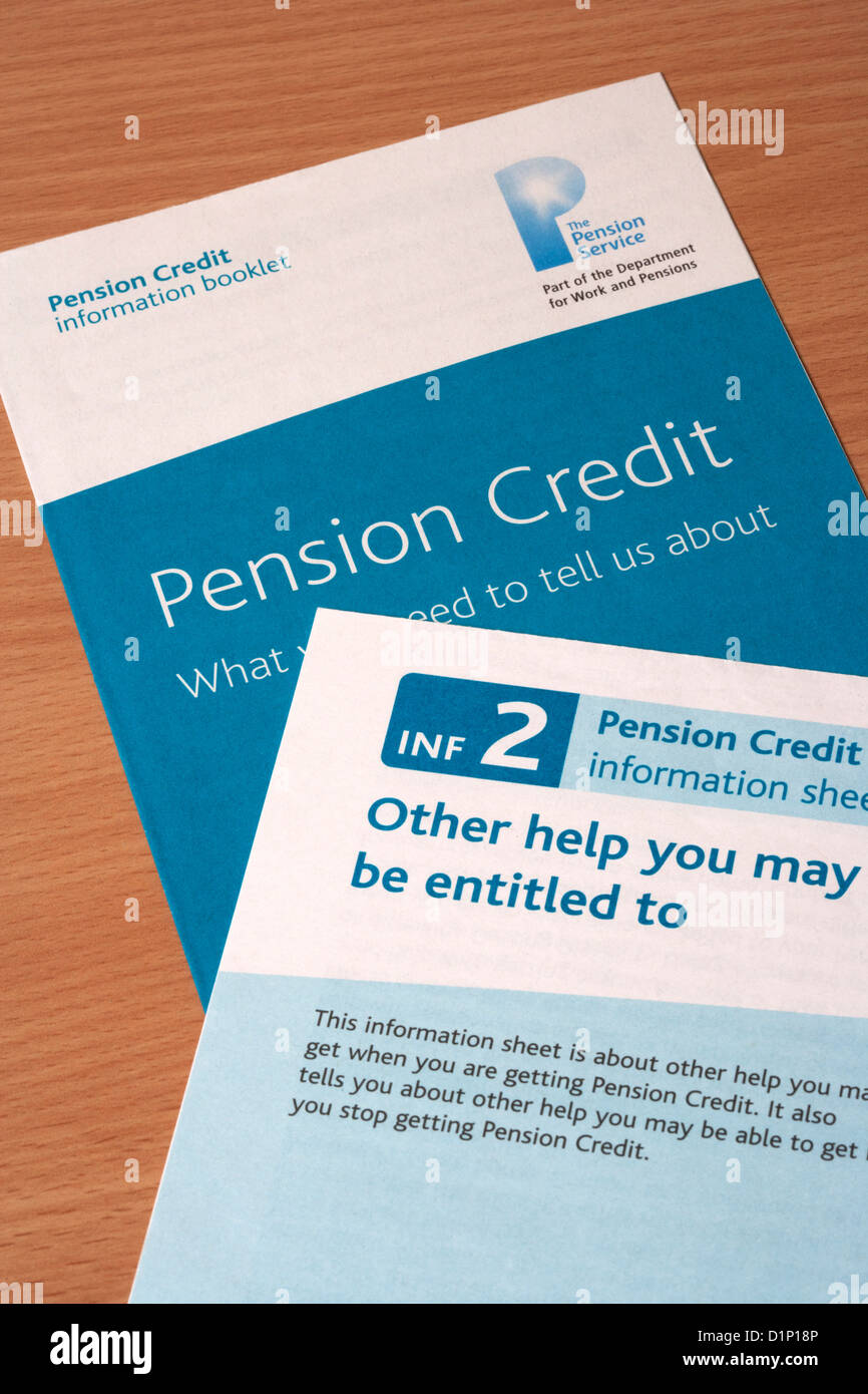 Pension Credit booklet and information sheet - Stock Image