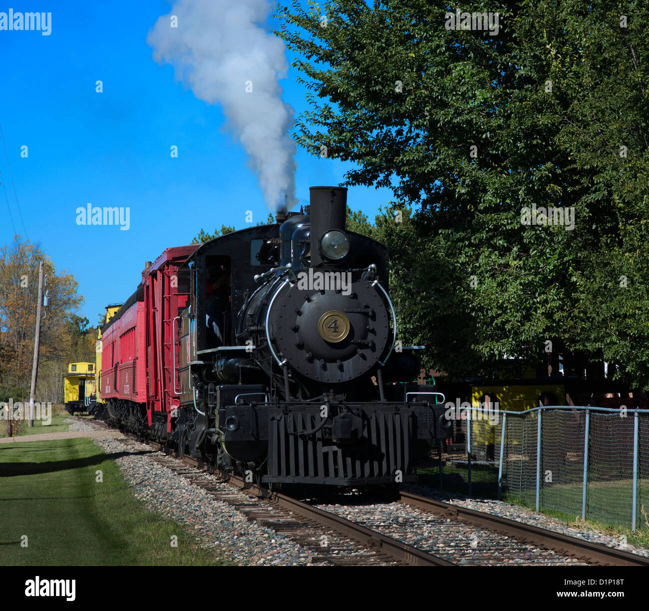 The Lumberjack Steam Train in Laona, Wisconsin is a vintage steam train which takes visitors to the Camp 5 Logging - Stock Image