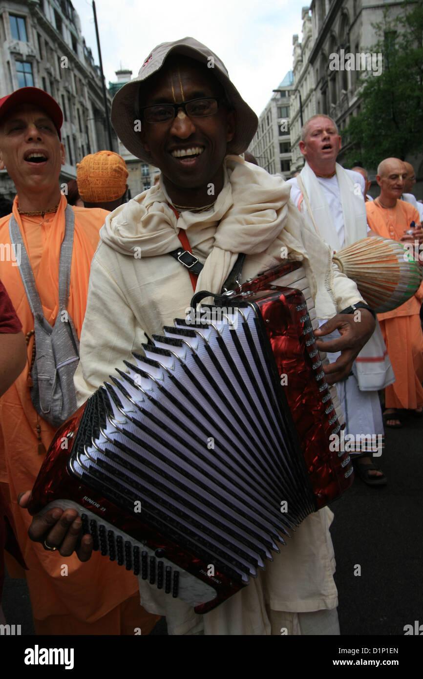 Hare Krishna devotees at Ratha Yatra Chariot Festival Stock Photo