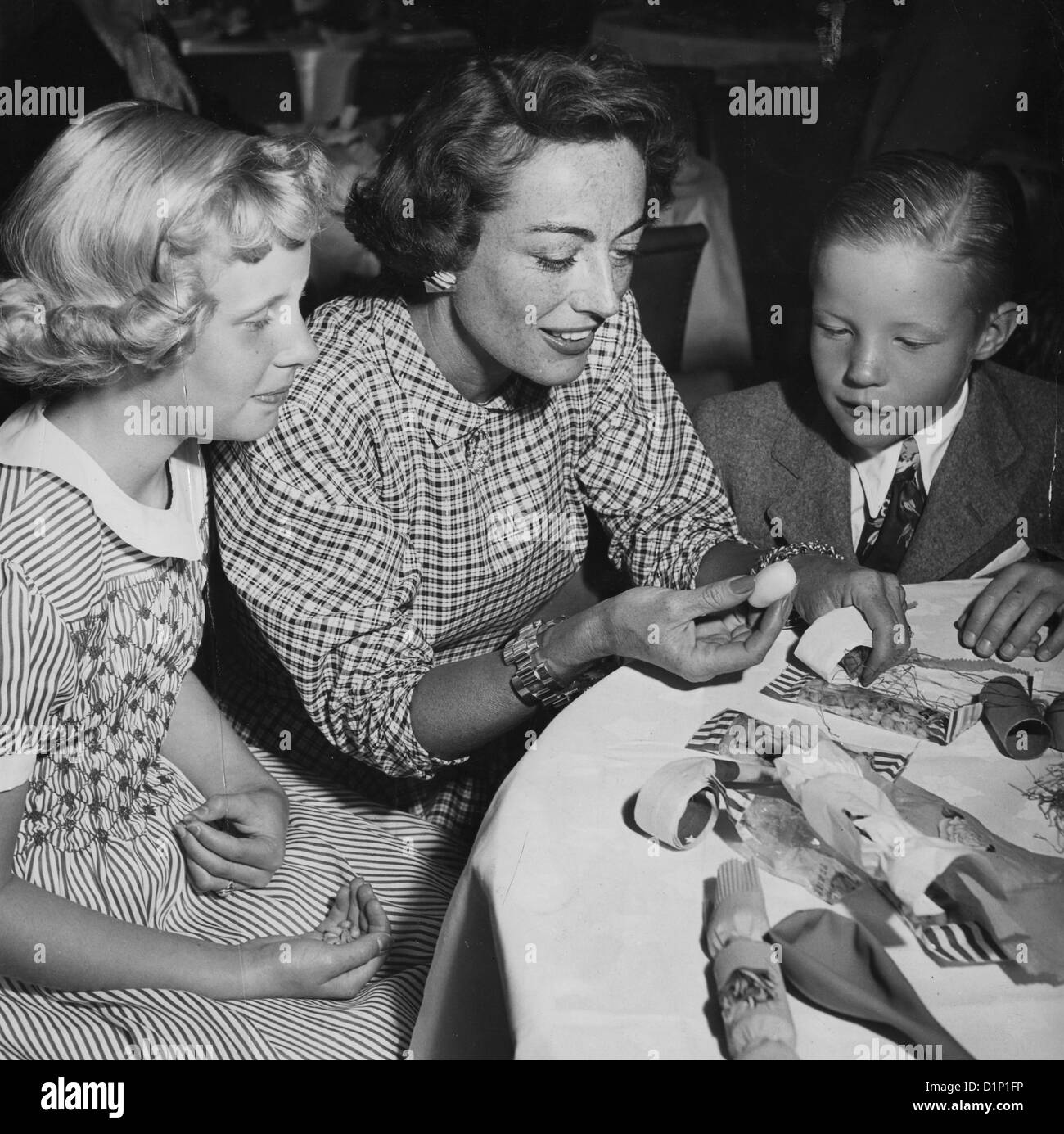 Joan Crawford 1905 1977 Us Film Actress With Two Of Her