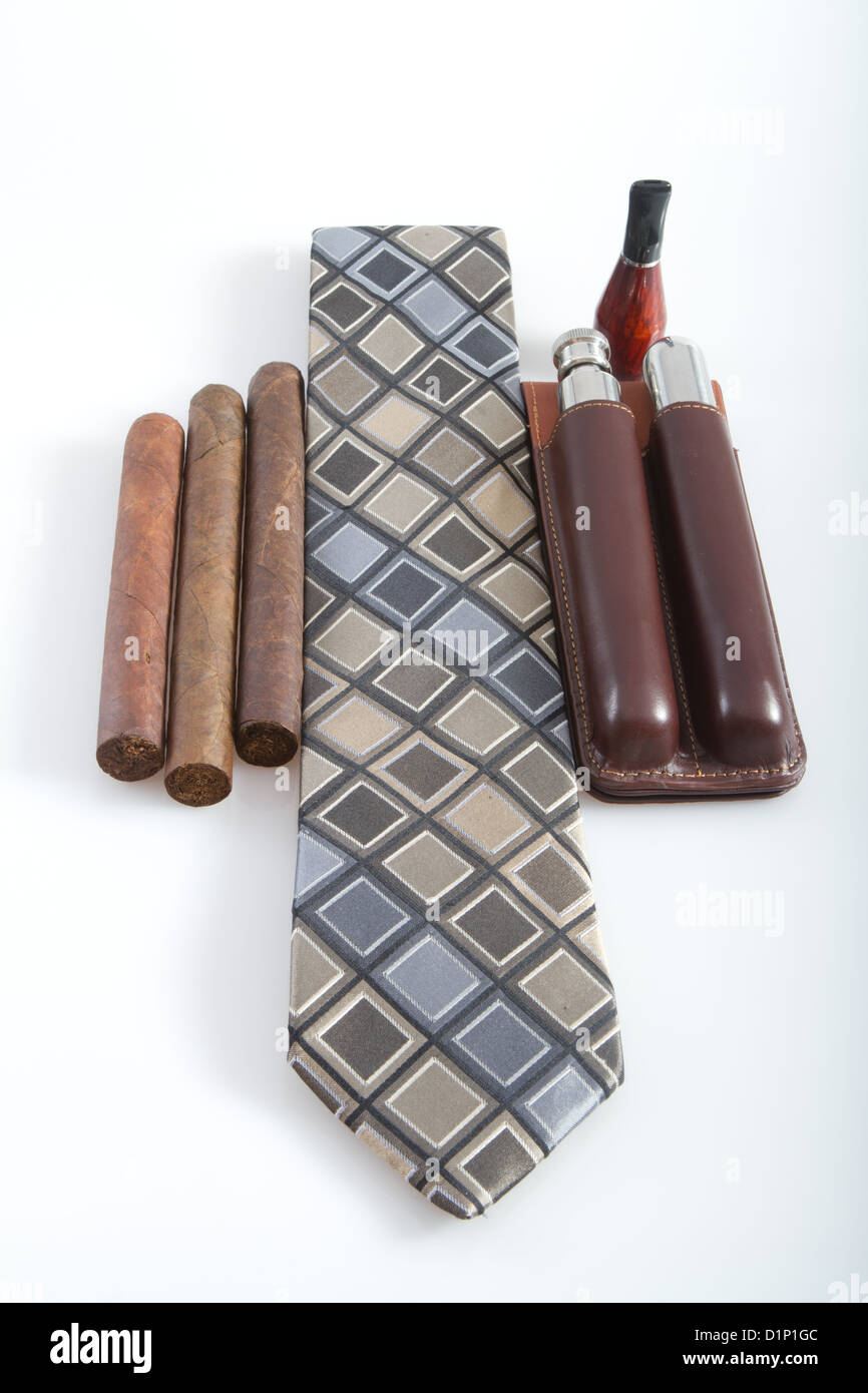 6fa509265d Tie cigars accessories leather cigar carrying case - Stock Image