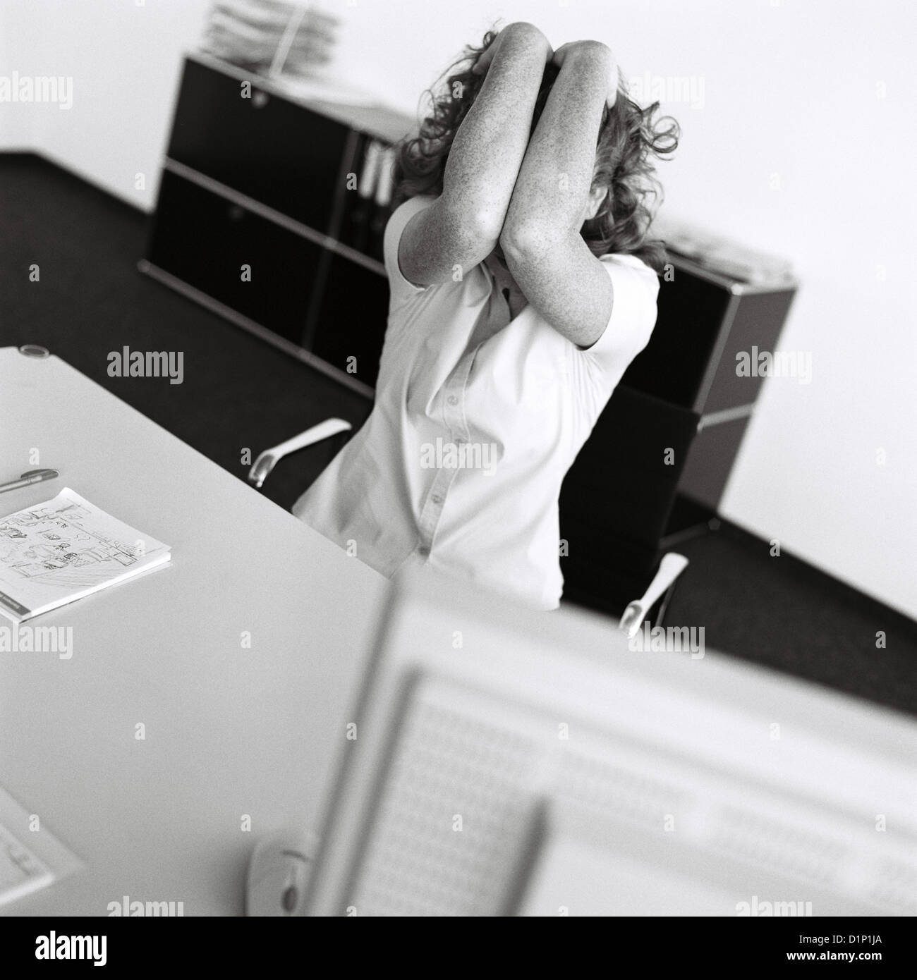 Black And White business manager frustration stress businesswoman stressed License free except ads and billboards - Stock Image