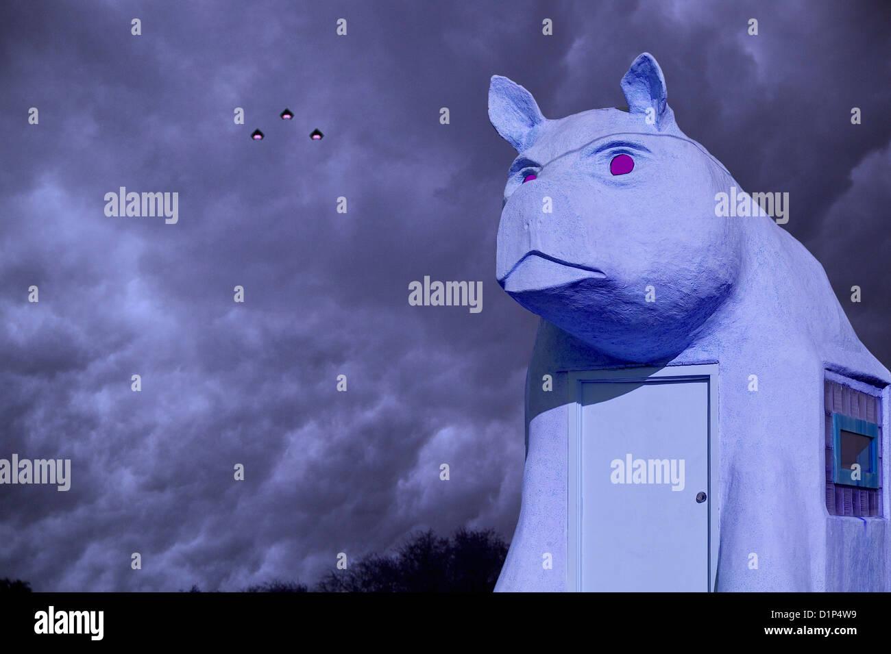 Do purple pigs fly? - Stock Image