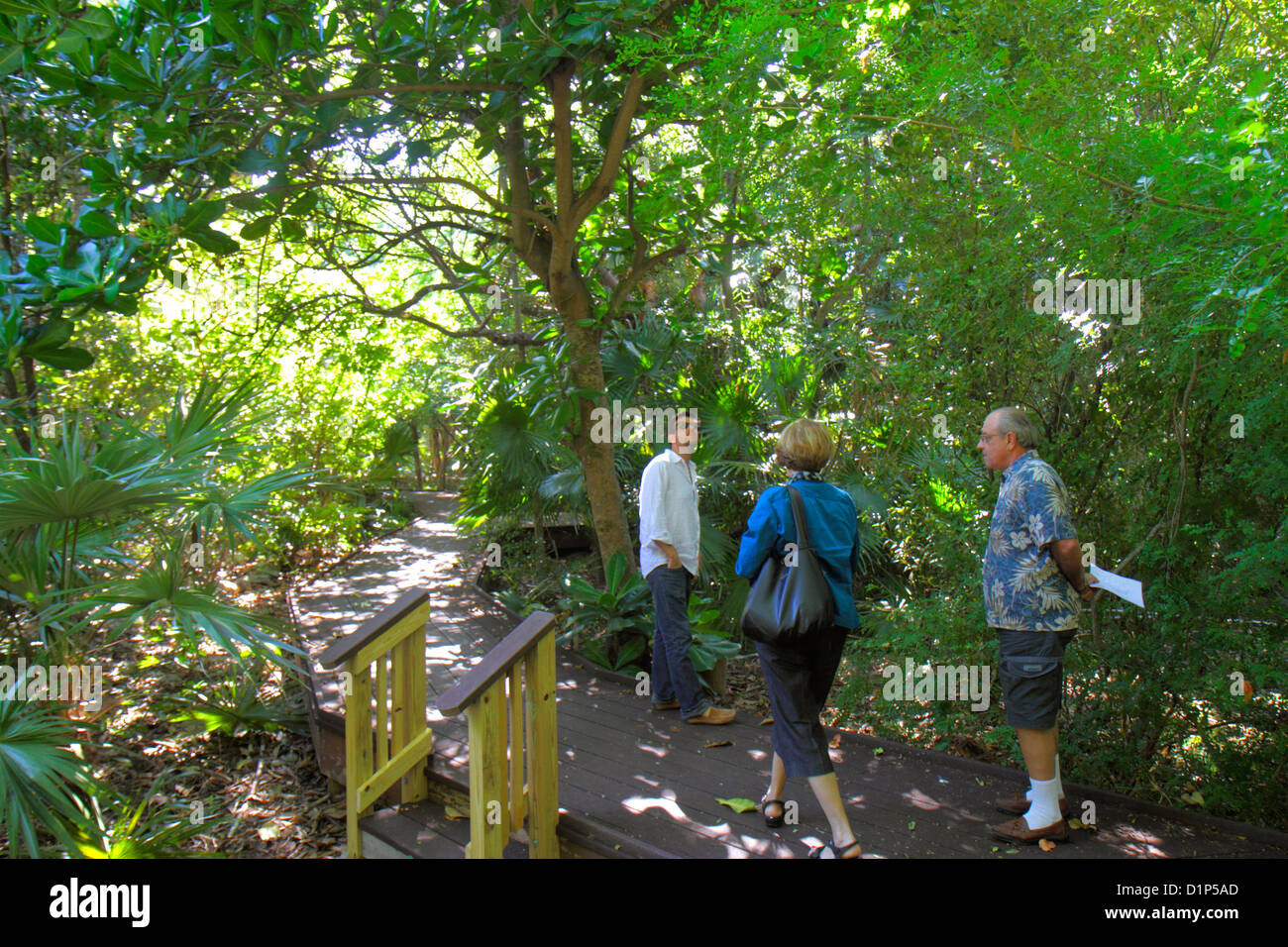 Florida Key West Keys Tropical Forest And Botanical Garden Frost Free Nature Trail Man Woman Couple Son Looki