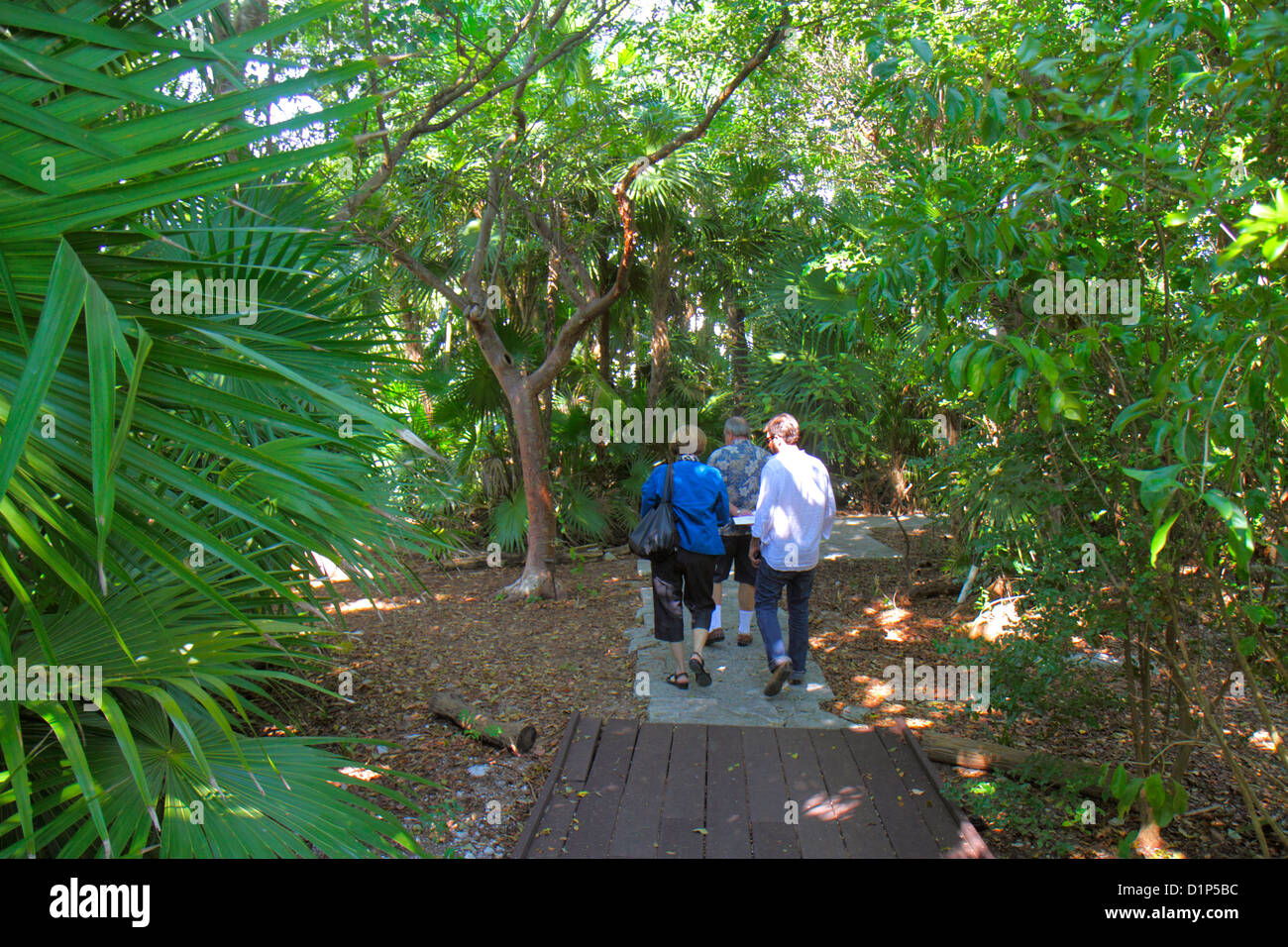 Florida Key West Keys Tropical Forest And Botanical Garden Frost Free Nature Trail Man Woman Couple Son Walki