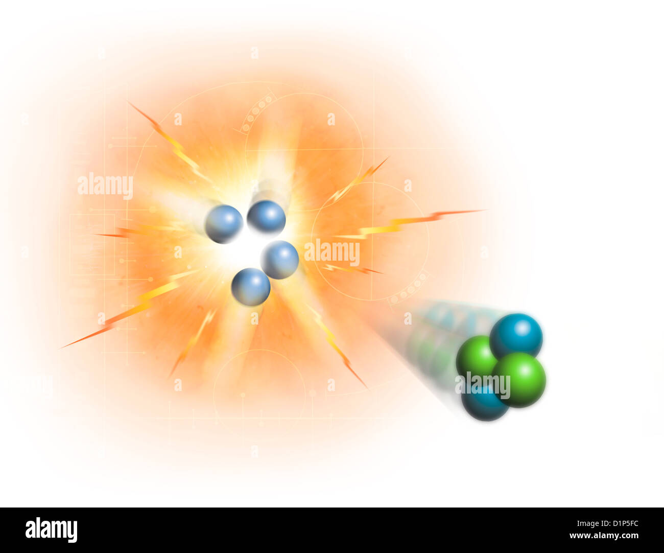 Artwork of nuclear fusion reaction Stock Photo