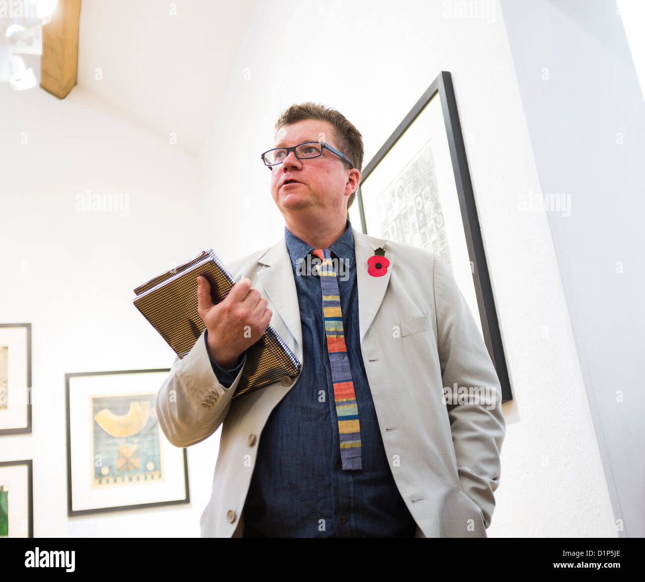 Printemaker PAUL CROFT at the opening of '30 Years of Drawings and Prints', Museum of Modern Art (MoMA) - Stock Image