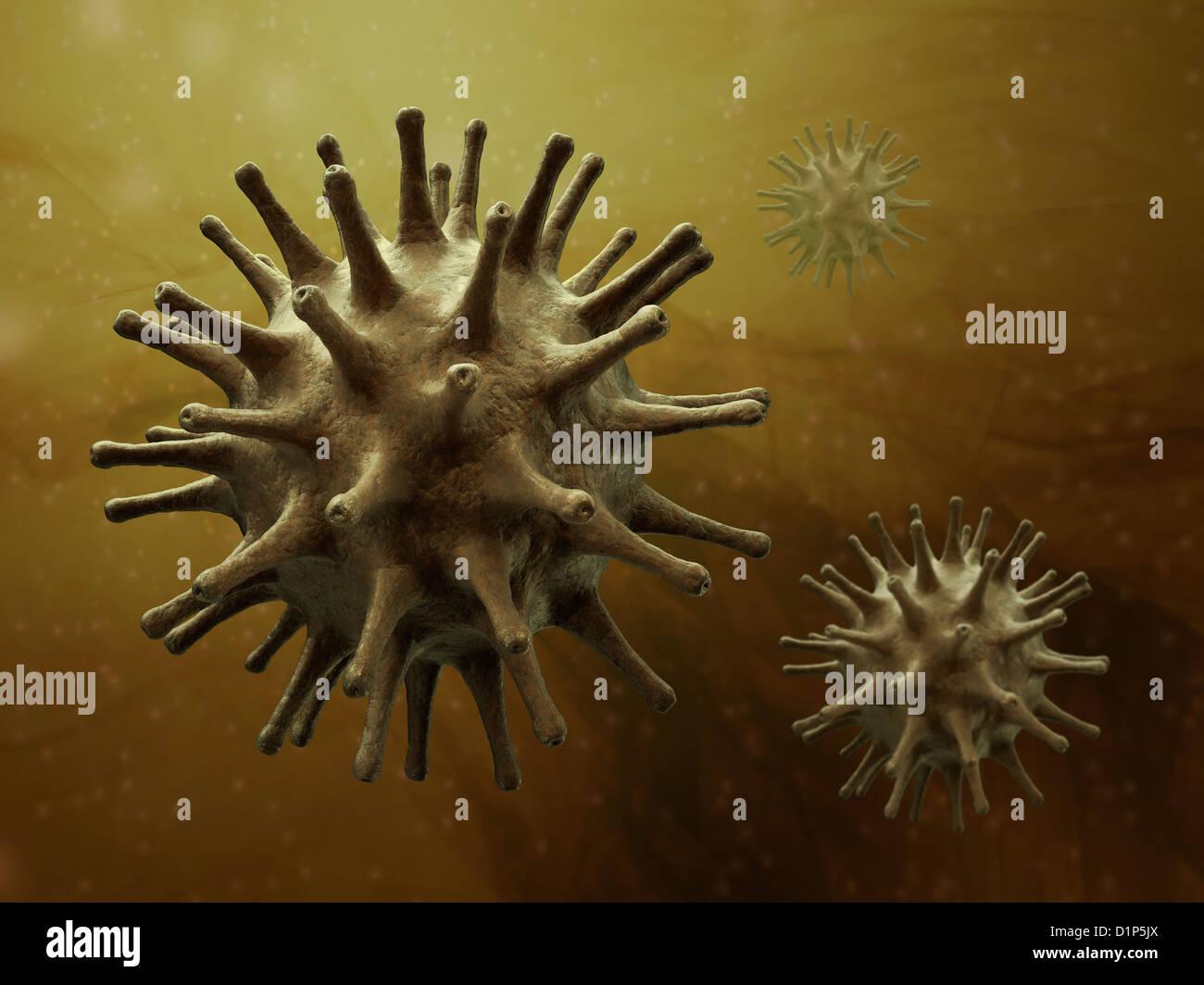 Virus particles, artwork - Stock Image