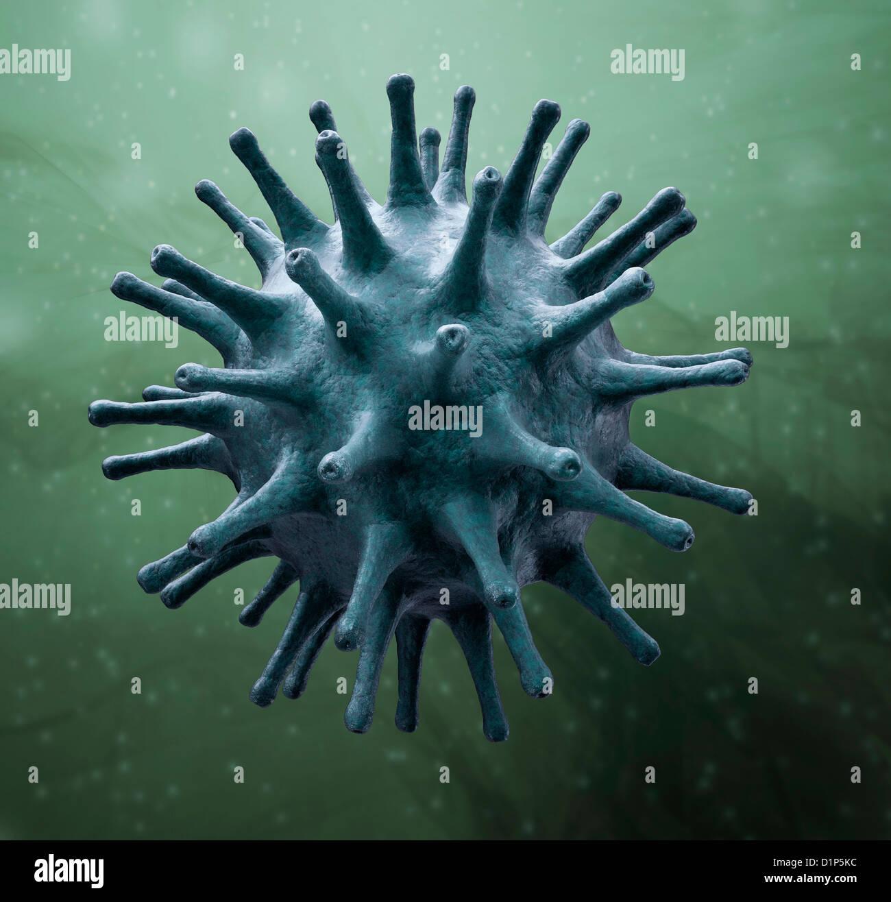 Virus particle, artwork - Stock Image