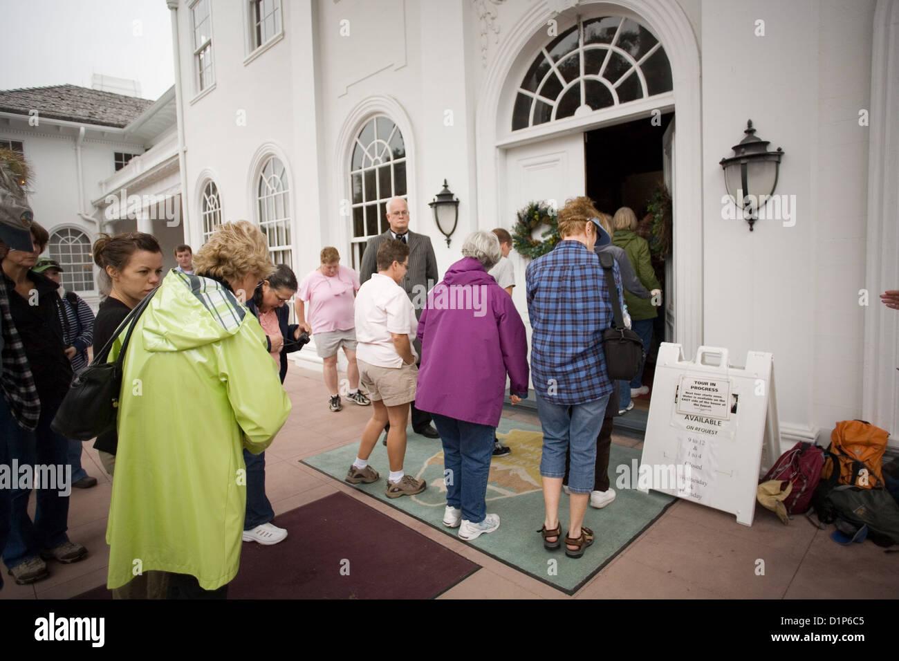 Tour of  Plum Orchard Mansion on Cumberland Island National Seashore Stock Photo