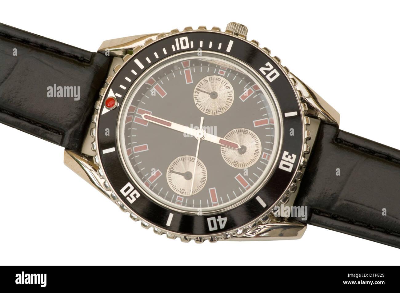 Mans Wristwatch Showing 6 O'Clock - Stock Image