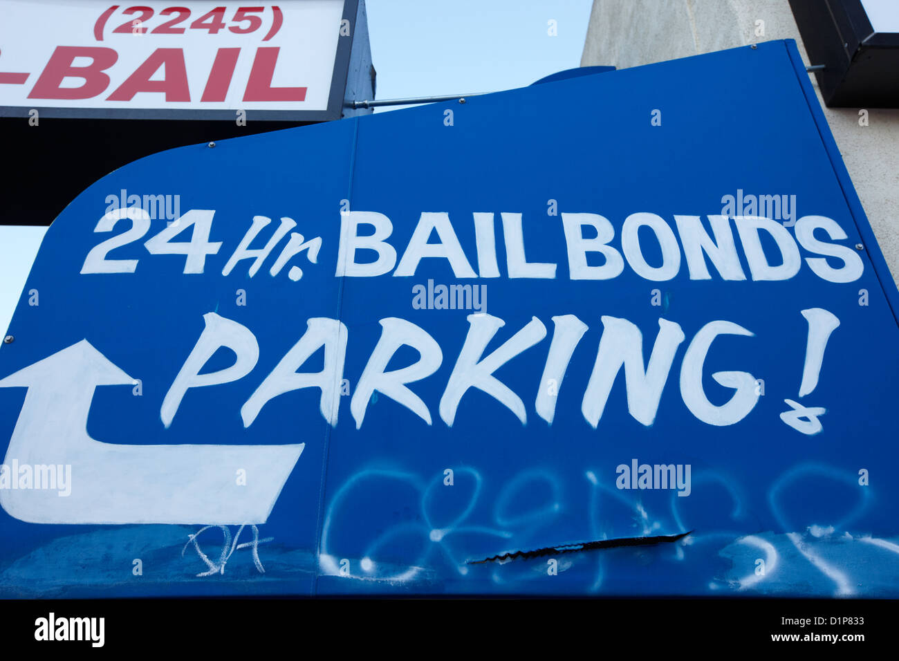 24hr bail bonds parking sign Las Vegas Nevada USA - Stock Image