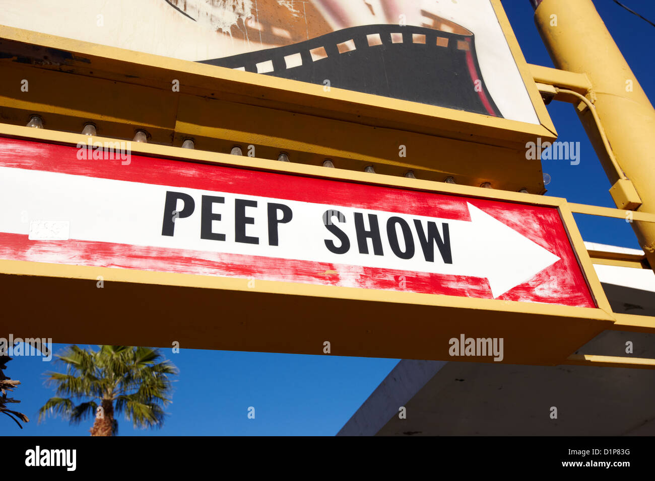 old faded peep show sign in downtown Las Vegas Nevada USA - Stock Image
