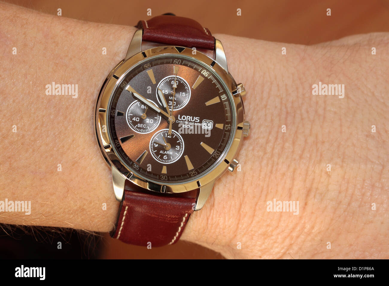 New Watch on Wrist Stock Photo
