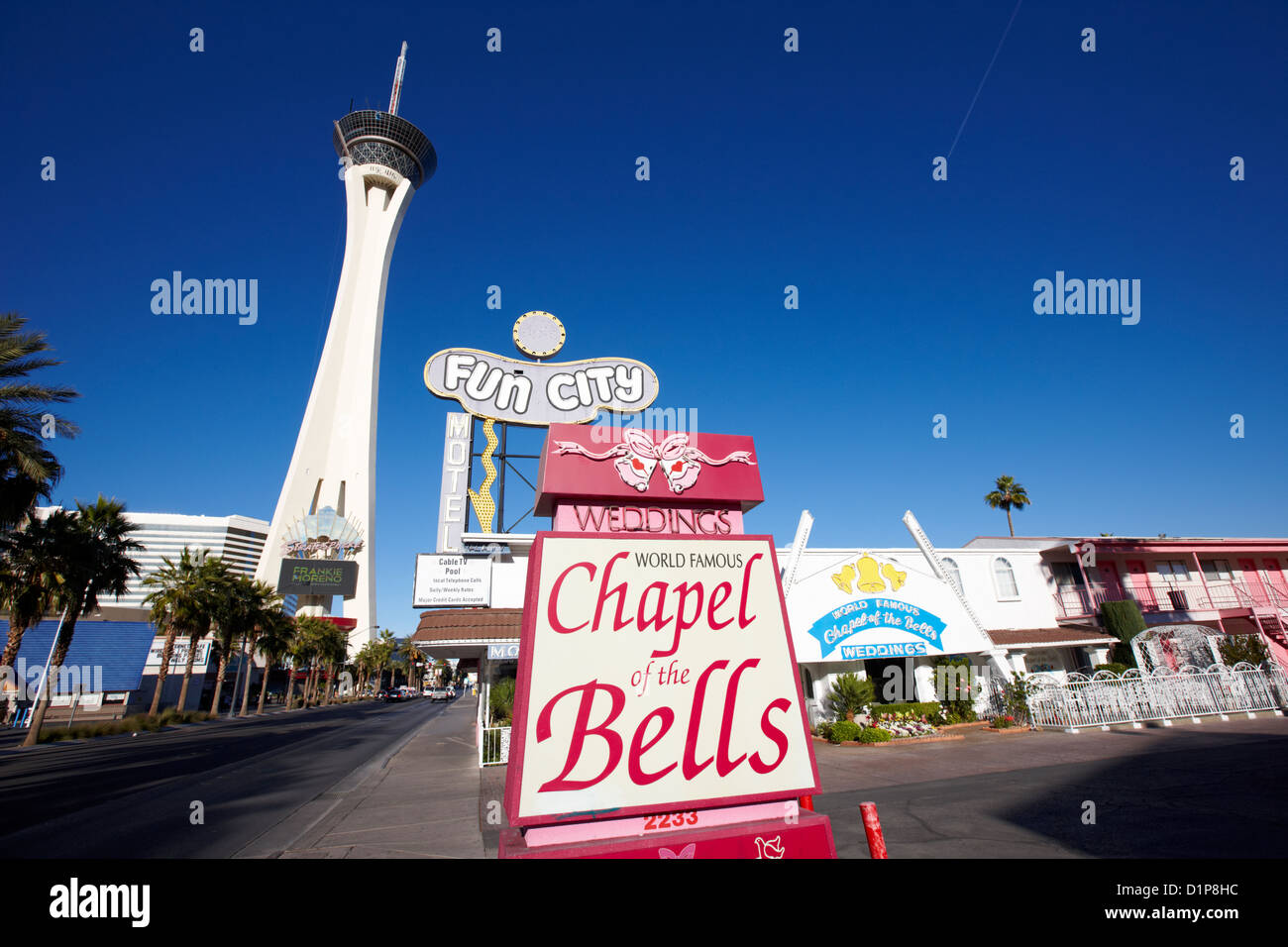 fun city motel and chapel of the bells wedding chapel on the strip Las Vegas Nevada USA - Stock Image