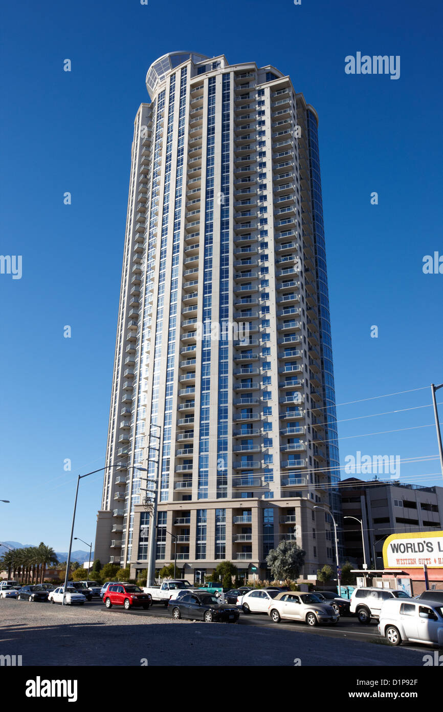 allure luxury condominium tower Las Vegas Nevada USA - Stock Image