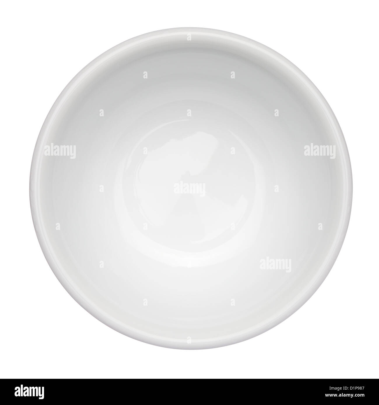 Empty clean bowl isolated on white background, top view - Stock Image