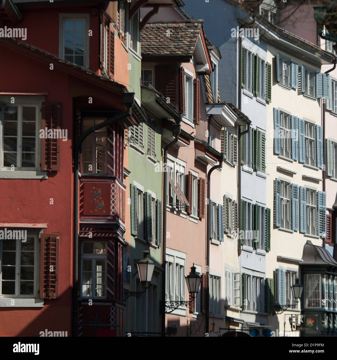 Exterior fa�ade of buildings, Bahnhofstrasse, Zurich, Switzerland - Stock Image