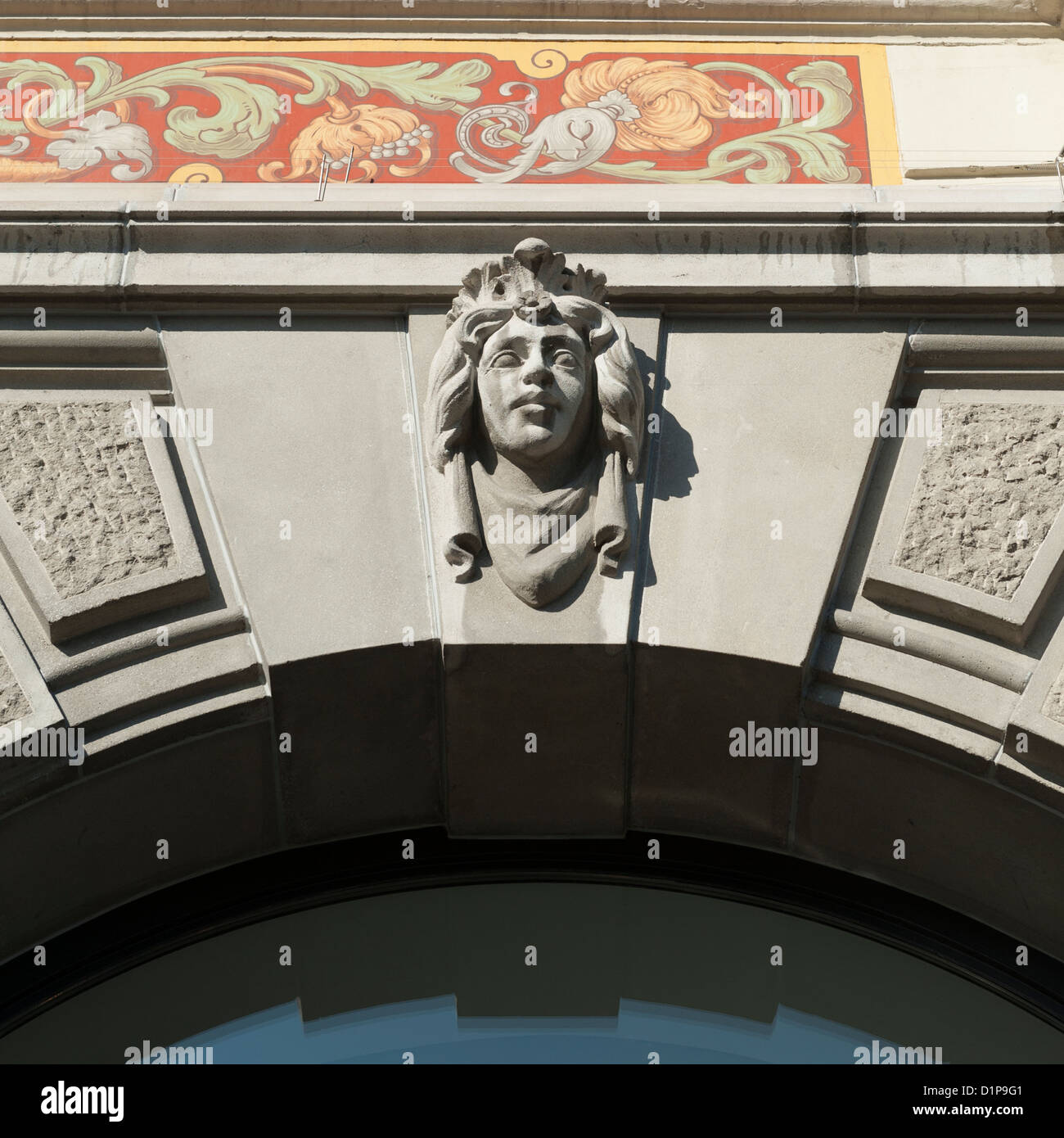 Architectural detail of a building, Bahnhofstrasse, Zurich, Switzerland - Stock Image