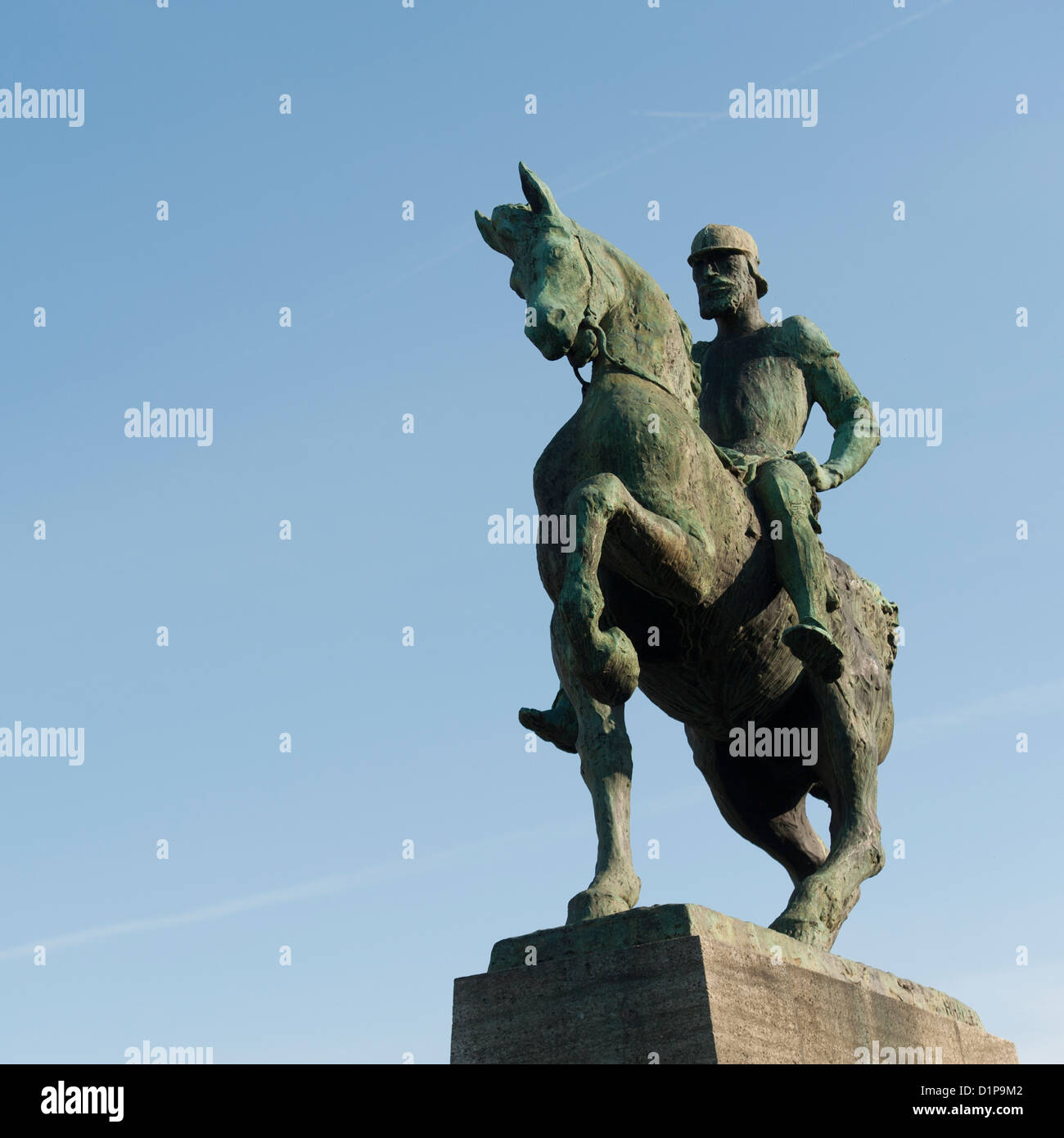 Low angle view of an equestrian statue, Bahnhofstrasse, Zurich, Switzerland - Stock Image