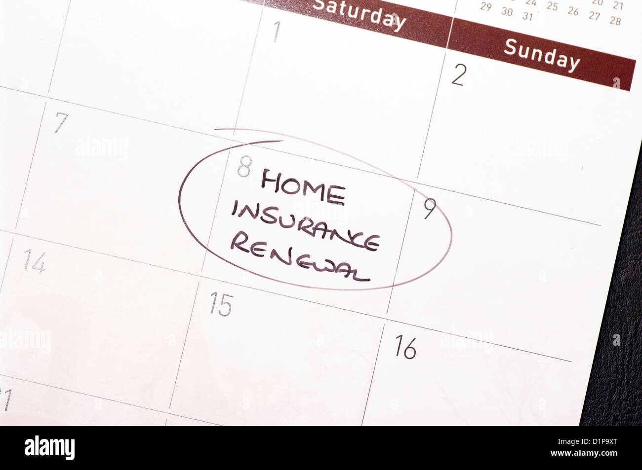 Home Insurance Renewal Reminder Circled On A Calendar - Stock Image