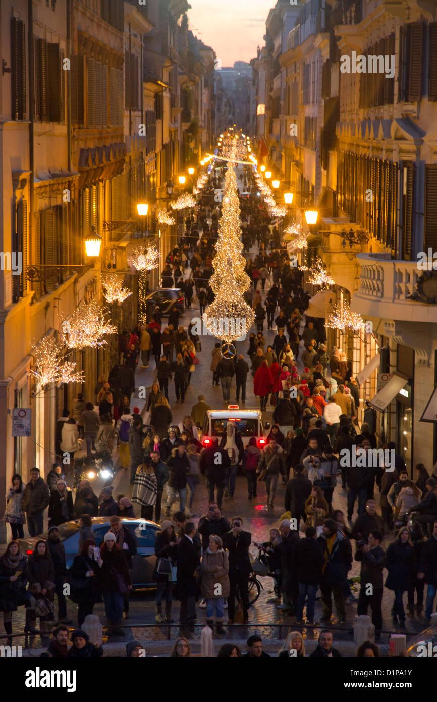 Via Condotti Rome Italy Christmas decorations lights crowd of people ...