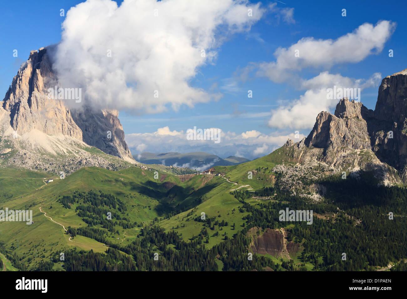 Sella pass between Gardena and Fassa valley, Italian Dolomites - Stock Image