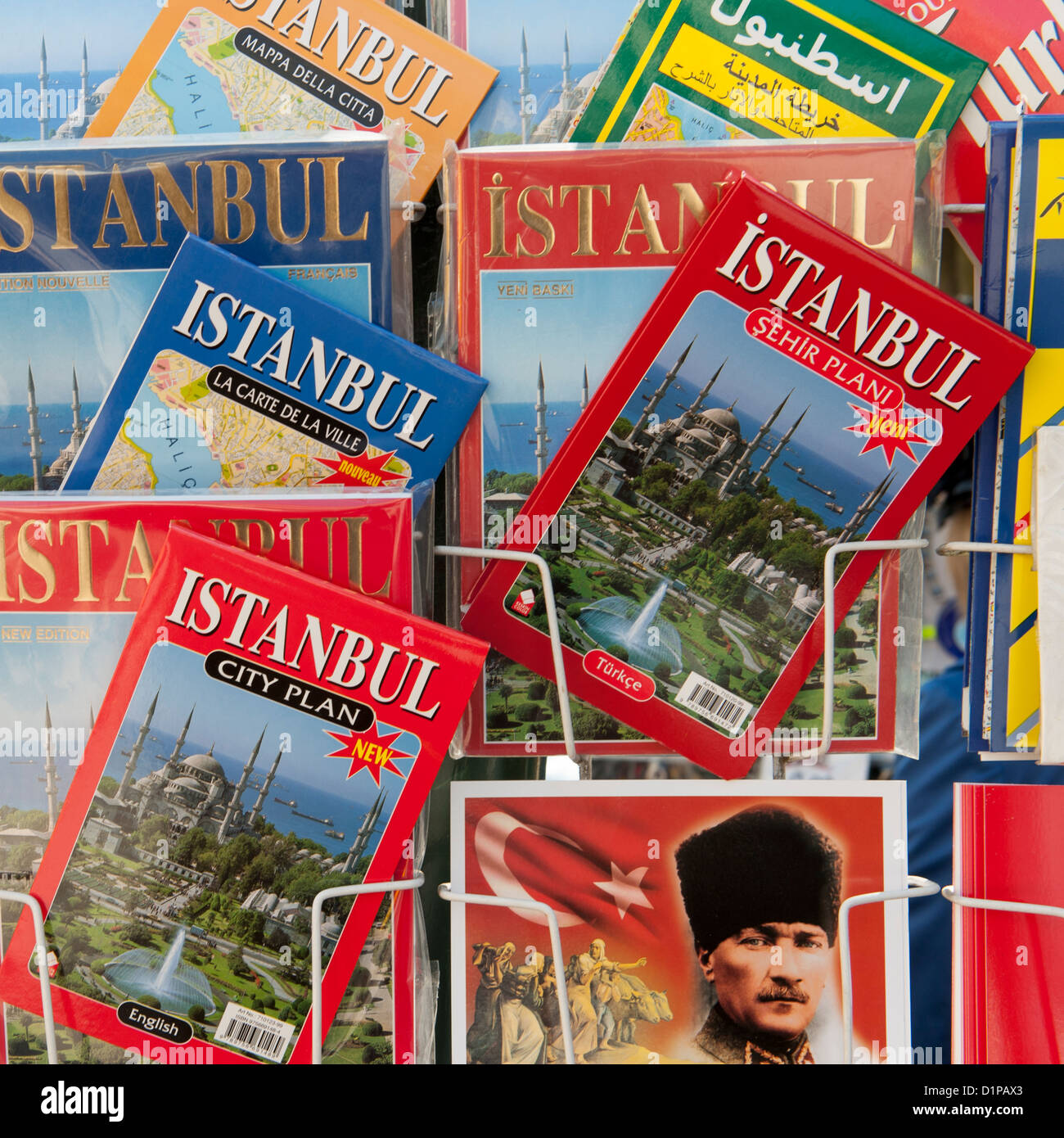 Guide books at a book stall, Istanbul, Turkey - Stock Image