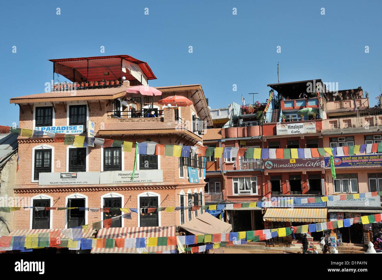 Paradise restaurant and Himalaya cafe Bodhnath Nepal - Stock Image