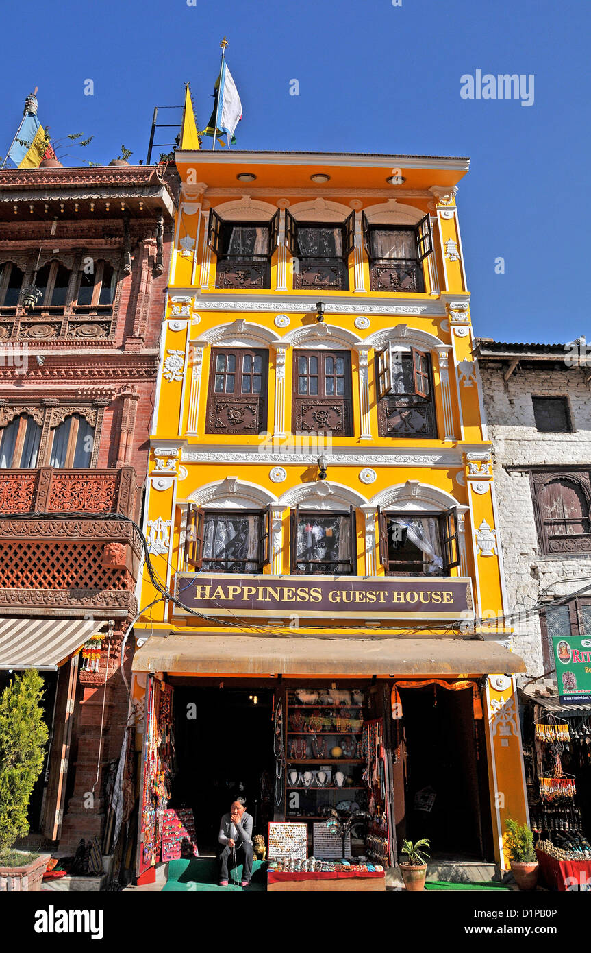 Happyness guest house Bodhnath Nepal - Stock Image