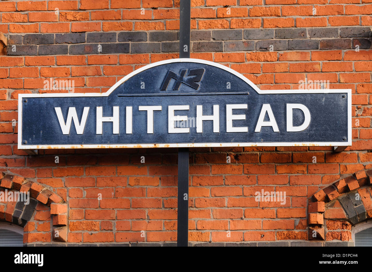 Sign at Whitehead train station - Stock Image