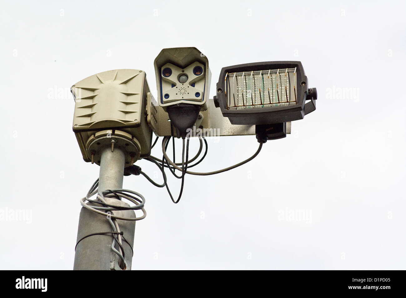 Infra Red closed curcuit television cameras or CCTV a surveillance camera for use at night - Stock Image