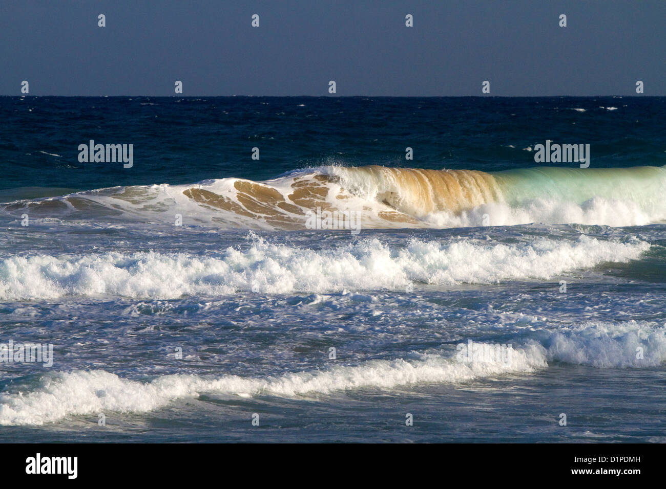 Pacific ocean waves off the island coast of Kauai, Hawaii, USA. Stock Photo