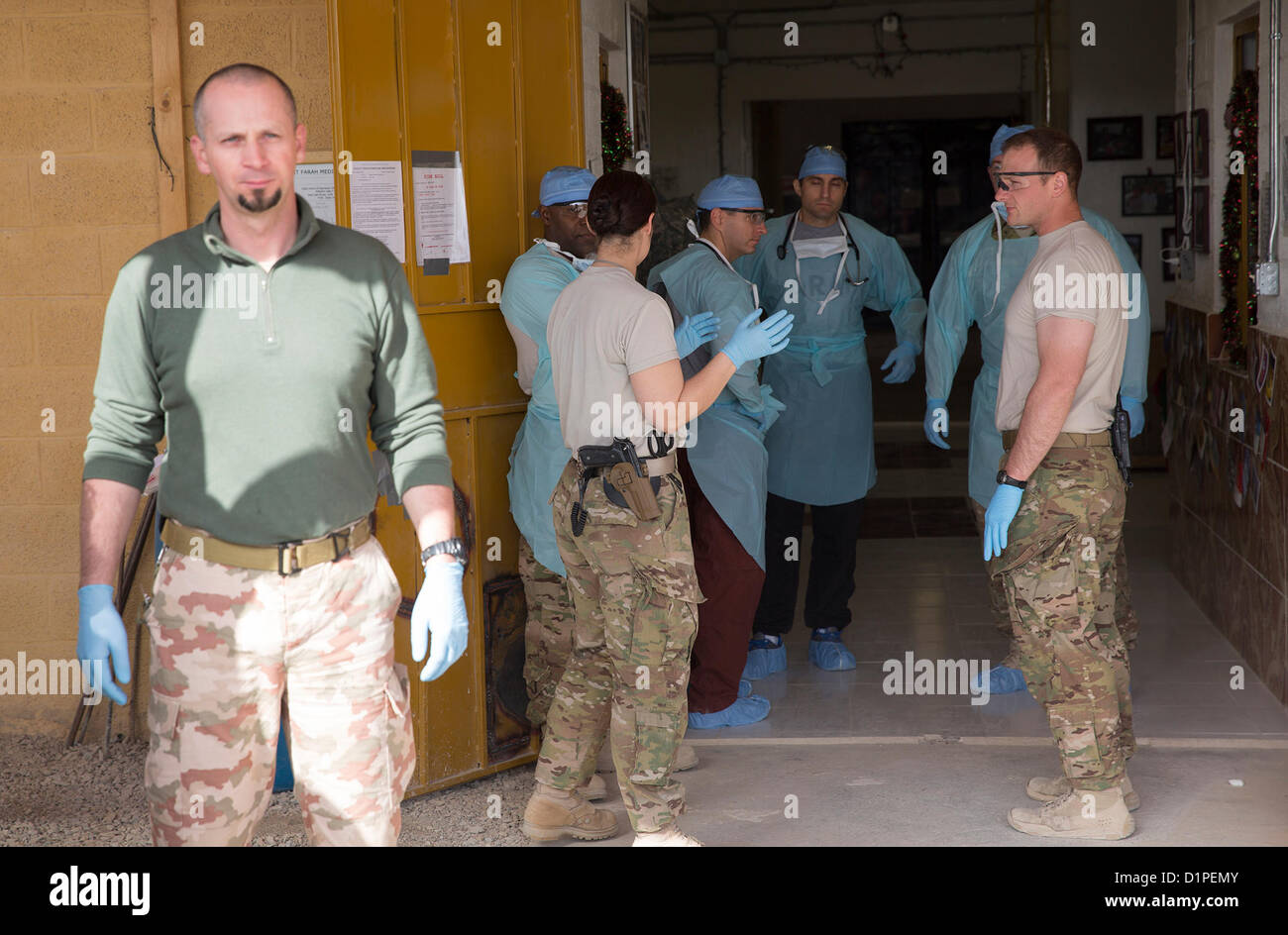 Medical personnel from Provincial Reconstruction Team (PRT) Farah, 541st Forward Surgical Team (Airborne) and coalition Stock Photo