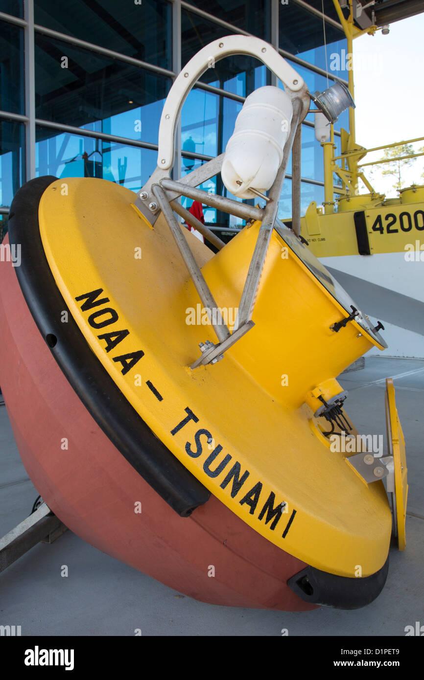 A tsunami buoy on display at NASA's Infinity Science Center. - Stock Image