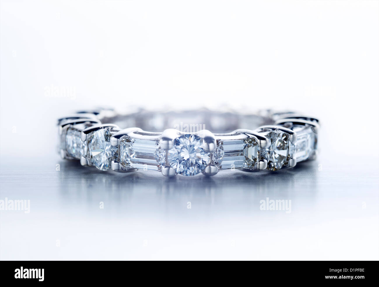 Diamond ring with round and baguette shaped diamonds - Stock Image