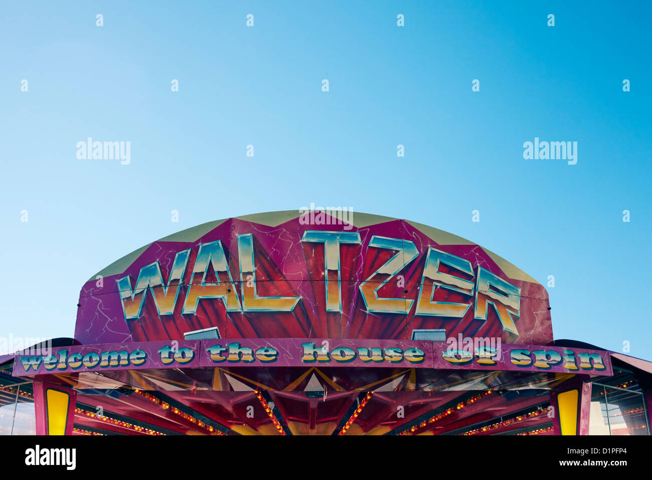 Waltzer, welcome to the house of spin sign - Stock Image