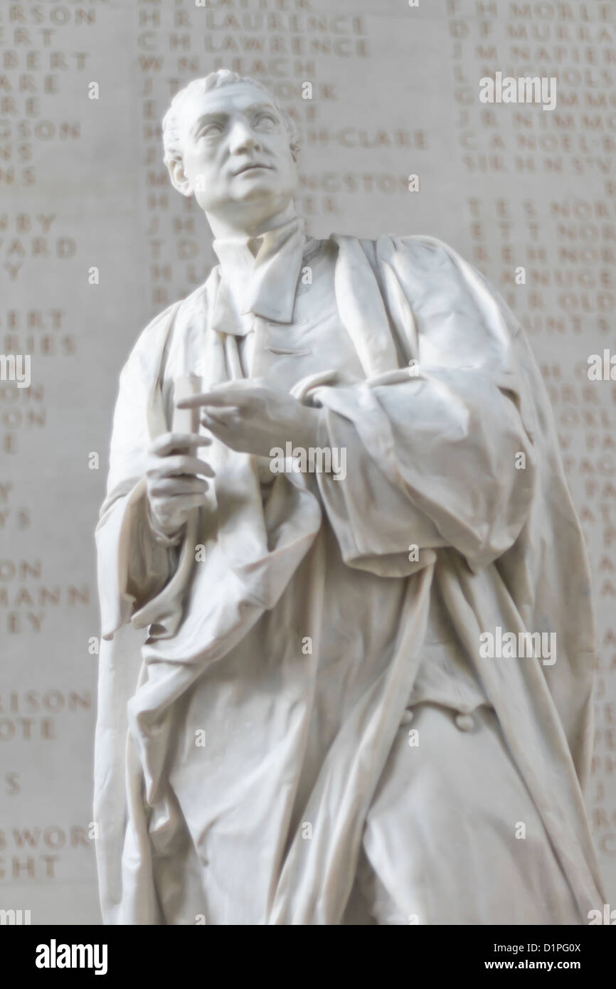 Statue of Sir Isaac Newton in the entrance to Trinity College chapel, Cambridge, England - Stock Image