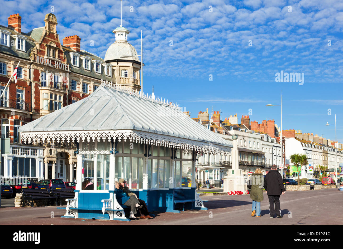 Restored Victorian listed Shelters on the Promenade seafront Georgian Esplanade at Weymouth Dorset England UK GB - Stock Image