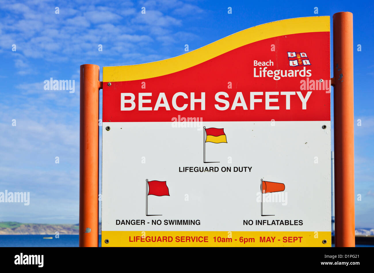 Beach safety warning rules sign Weymouth seafront Dorset England UK GB EU Europe - Stock Image