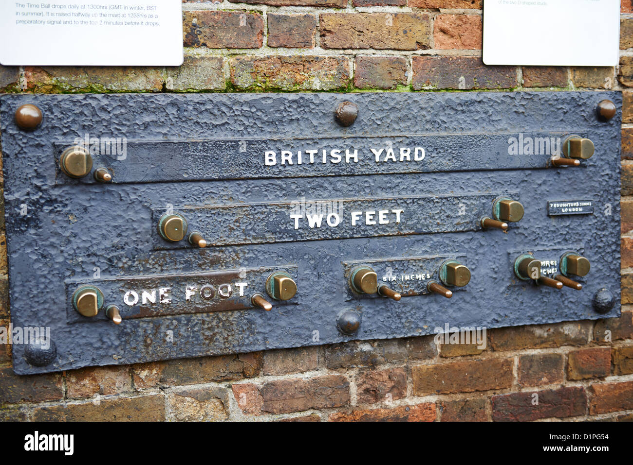 Standard lengths on the wall of the Royal Observatory Greenwich London UK - Stock Image