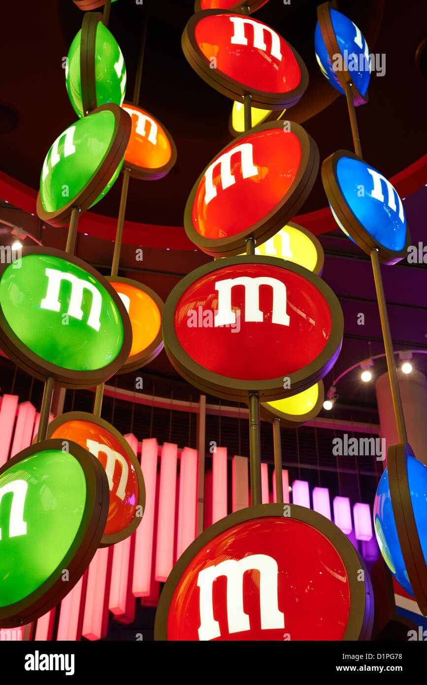 Interior of the M&M store Leicester Square London UK - Stock Image