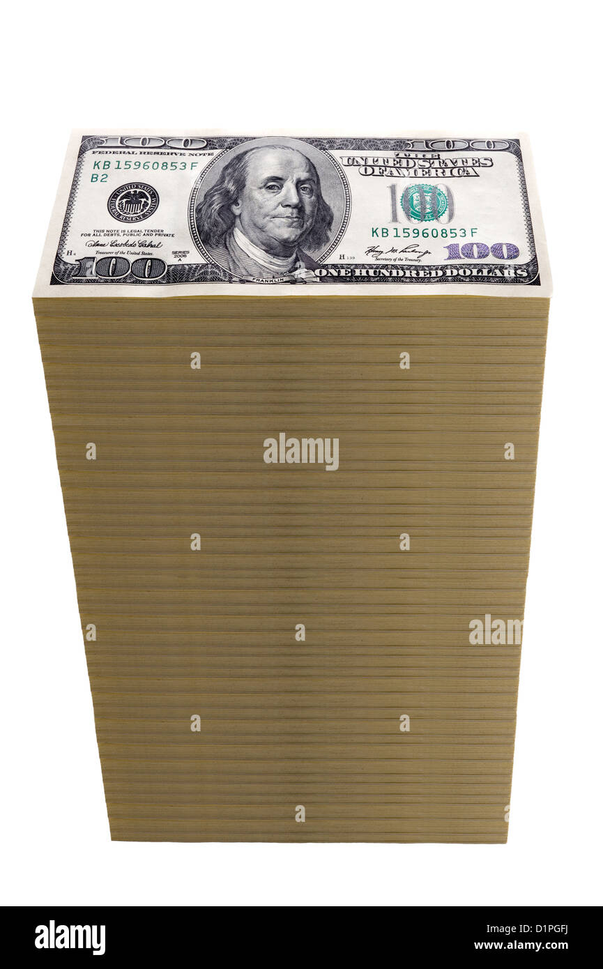 a money tower of stacked one hundred dollar bills isolated on white - Stock Image