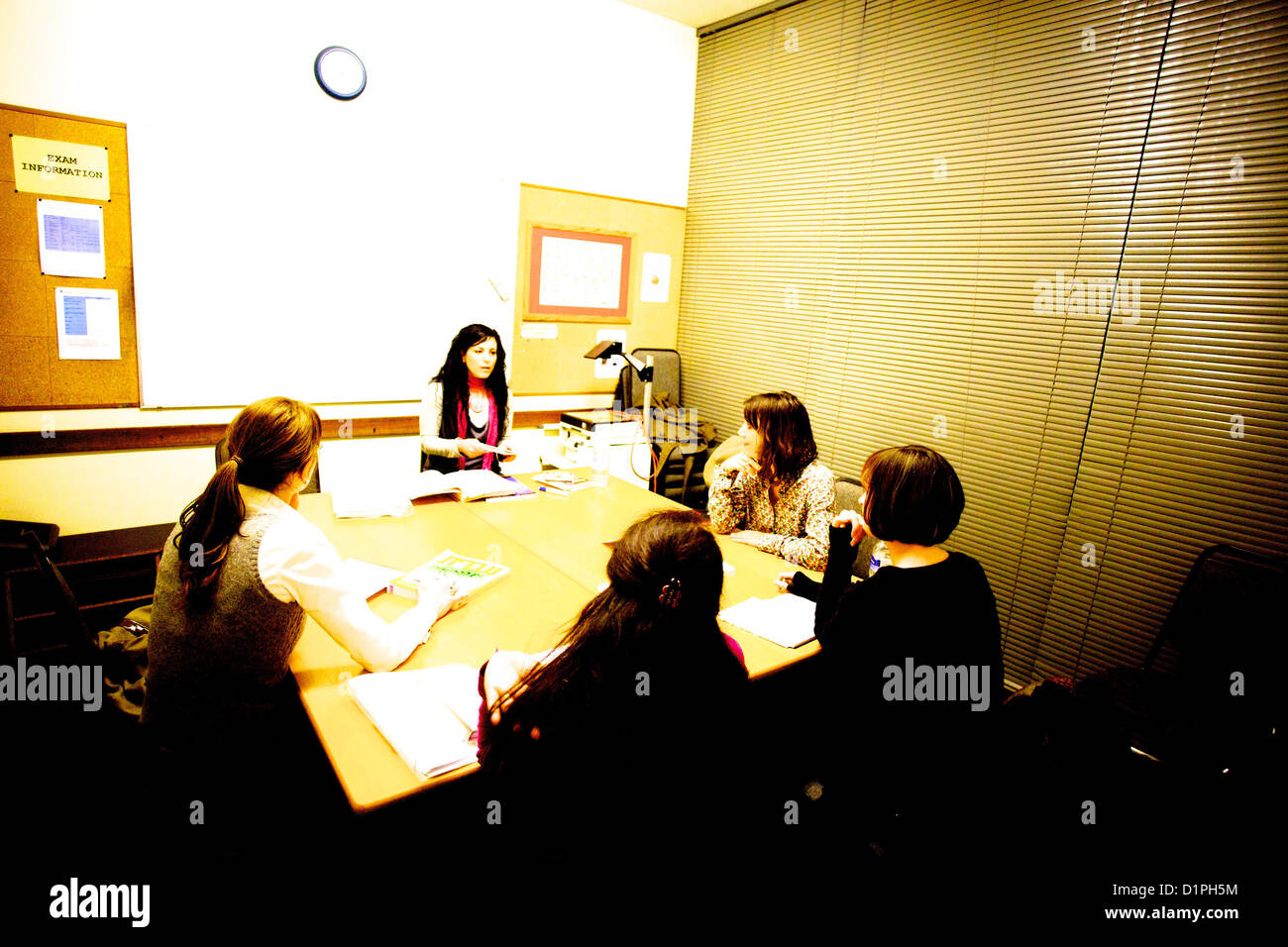 Teaching adult students in small private college Stock Photo