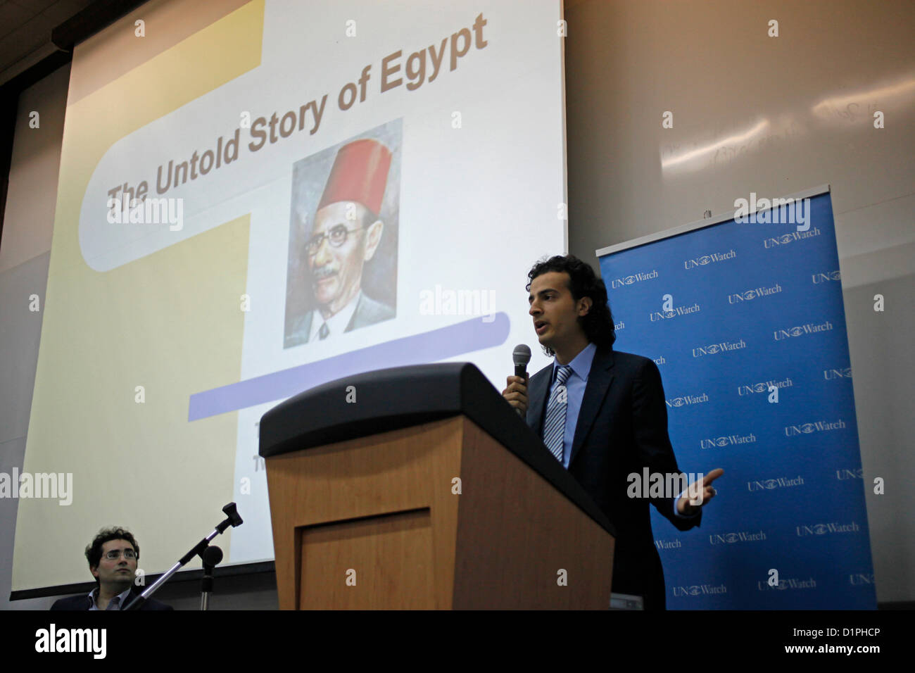 Maikel Nabil Sanad, an Egyptian blogger and activist carrying a speech in Tel Aviv University on 02 January 2012. Stock Photo