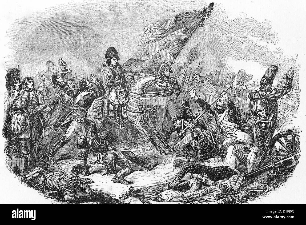 Napoleon Bonaparte (1769-1821), emperor of France. Battle of Waterloo, 18thJune 1815. Antique illustration, 1855. - Stock Image